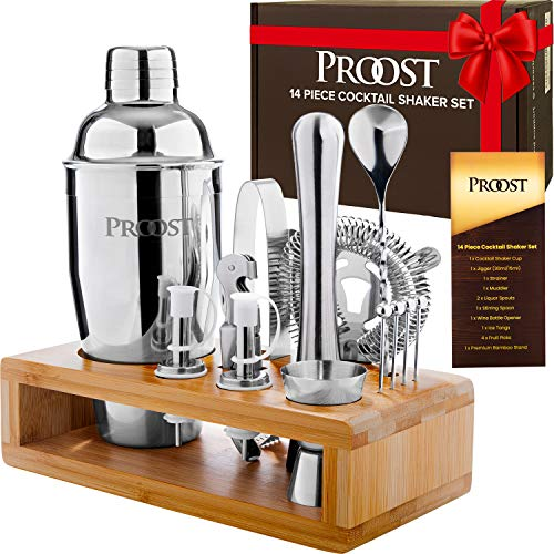 Proost 14-piece Stainless Steel Cocktail Shaker Set with Stand & Drink Recipe Booklet: Bartender Kit, Perfect Bar Set for Home Bar with All Essential Bar Tools, Martini Shaker Set
