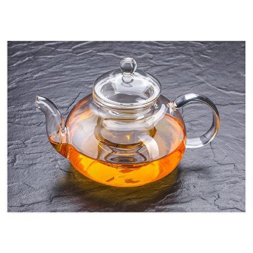 Cosy YcY - Théière en verre de borosilicate avec infuseur à thé, théière ou cafetière en verre résistant à la chaleur, peut être utilisée sur la gazinière, Verre borosilicate, 600ml/21oz