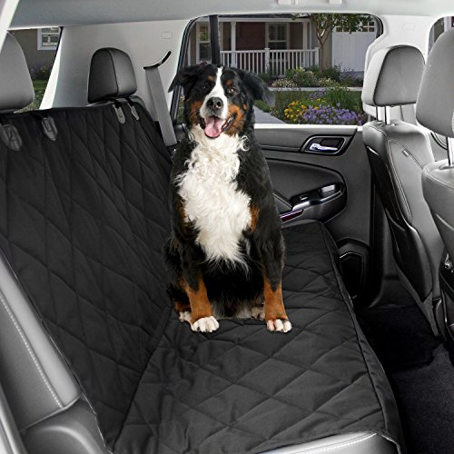 Dog Car Seat Cover - Black Waterproof Non Slip Padded Quilted Protector with Seat Anchors and Heat Straps