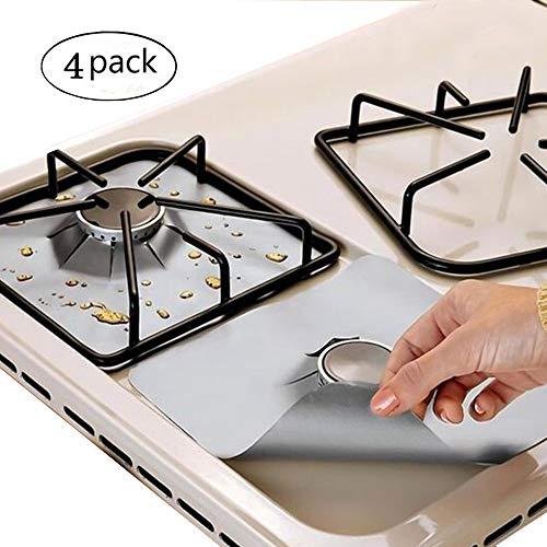 EatronChoi Protezioni per fornelli gas, protezioni per piani cottura a gas, riutilizzabili,facili da pulire,dimensioni 26,9 x 26,9 cm (l x h), colore argento,confezione da 4 pezzi.