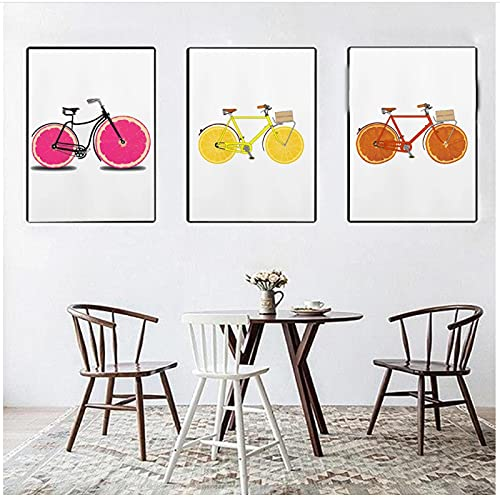 Canvas Prints ,Food Painting Funny Fruit Bike Art Lemon Bicycle Be Active kiwi Poster Kitchen Bathroom Bedroom DecorNo Frame