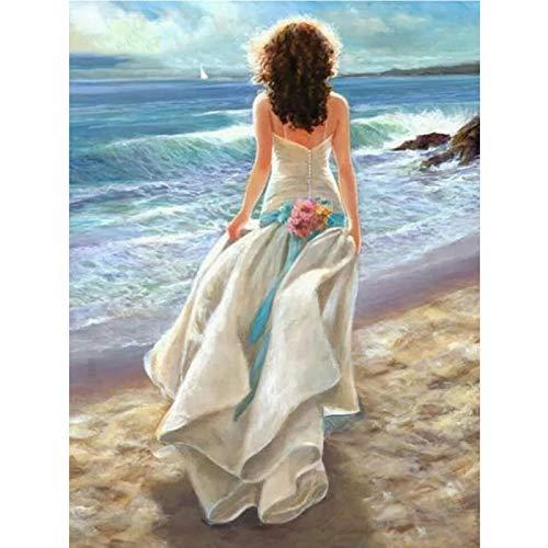 Venta de bordado de diamantes mujer espalda completa dibujo de diamante costura hágalo usted mismo mosaico de diamantes de imitación decoración 3D hobby-30X40CM