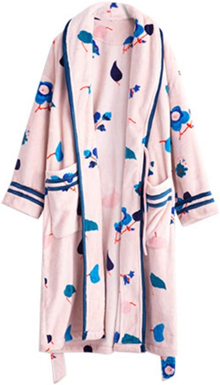 NAN Liang 100% Cotton Bathrobe Dressing Gown Luxury Bathrobe Pink  Size M L XL Soft (Size   L)