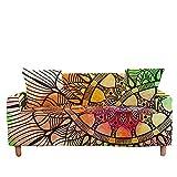 Funda de sofá con 3 cojines, fundas de sofá súper elásticas, fundas de sofá lavables con estampado de mandala naranja con 2 fundas de almohada, para sillón de dos plazas, protector de mueble