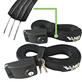 Vamo Premium Locking Tie Downs with 3 Stainless Steel Cables 'No Scratch' Silicone Buckle Surf or SUP Tie Down Straps for Surfboards, Paddle Boards, Kayaks and Canoes (Two Pack) (14')