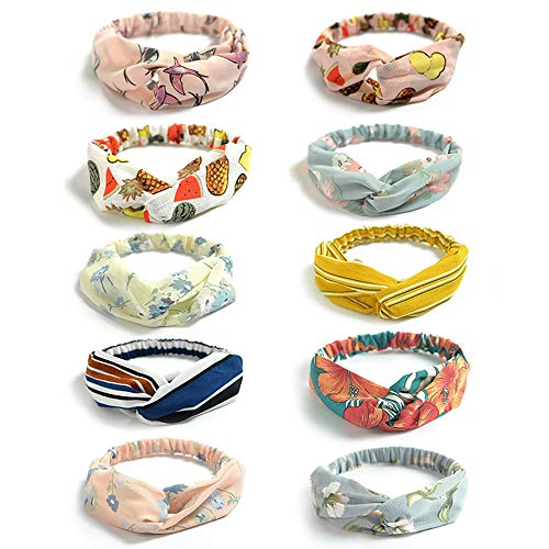 Joan Nunu 10 Packs Boho Headbands for Women Vintage Floral Print Headwrap Hair Band Sports Elastic Head Wrap Twisted Cute Hair Accessories
