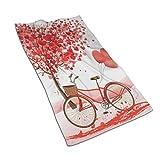N / A Toallas De Baño Elegante Y Romántico Día De La Madre Árbol De Amor Y Bicicleta con Globo De Corazón Toallas De Baño Splash Sábana De Baño Impresa Toalla De Piscina para Adultos Súp
