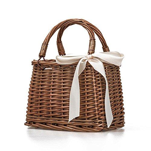 haodene Pure estilo Retro hecho a mano tejida bolsa de playa bolso cesta de almacenaje Caja de Lunch–tradicional de mimbre cesta para Picnic Décor Bowknot con cubiertos platos vasos