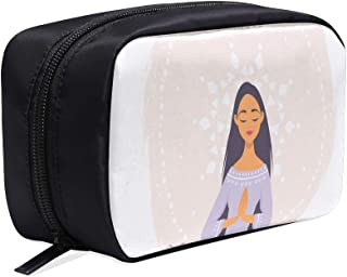 Cute Cartoon Girl In Yoga Lotus Pose Portable Travel Makeup Cosmetic Bags Organizer Multifunction Case Small Toiletry Bags For Women And Men Brushes Case