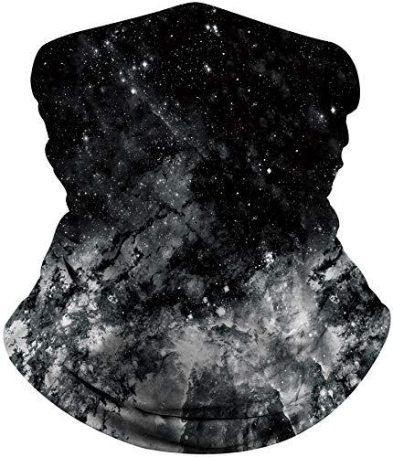 ALISISTER Multifunktionstuch Nahtloses Halstuch Schlauchtuch Schal 3D Schwarze Galaxie Druck Kopftuch Stirnband Motorrad Outdoor Halbes Bandana
