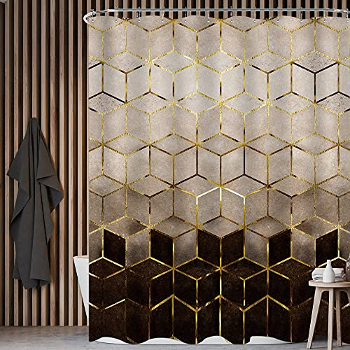 KOMLLEX Abstract Ombre Brown Black Marble Shower Curtain for Bathroom 60Wx72H Inch Modern Geometric Bathtub Set Grid Cubic Pattern Gold Lines Creative Fabric Waterproof Polyester 12 Pack Hooks
