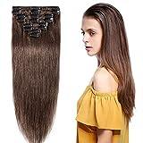 Clip In Extensions Echthaar #4 Mittelbraun - Remy Extensions Echthaar Haarverlängerung 8 Tressen 65g - 40cm