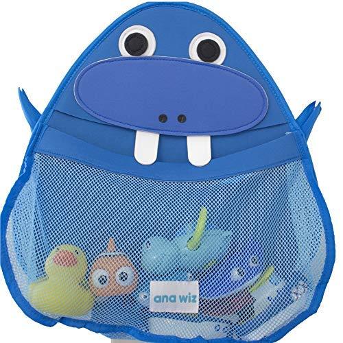 Ana Wiz - Organizer per il bagno, per giocattoli, vari disegni, blu Walrus, 0,03 ml
