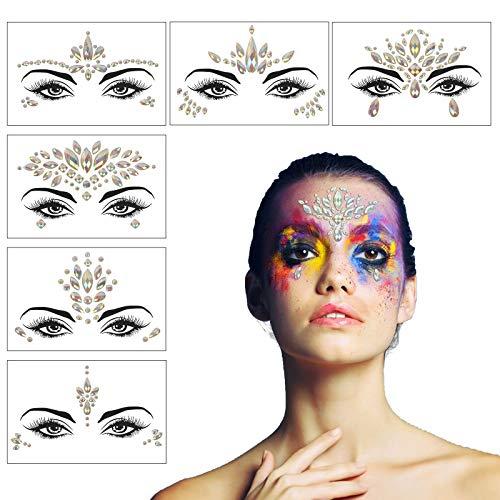 CHIFOOM 6pcs Cara Rhinestones Festival, Piedras Preciosas Autoadhesivas, Diamantes de Imitación Cara,...