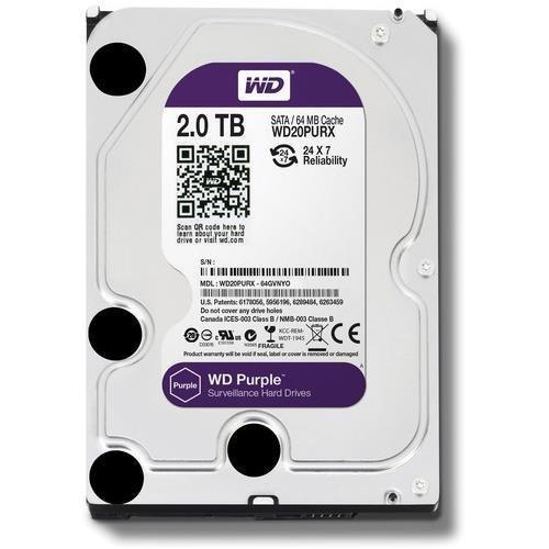 Western Digital WD Purple HDD Interno 2000 GB, SATA III, 6000 Mbit/s, 5400 rpm, 64 MB, 3.50 Pollici