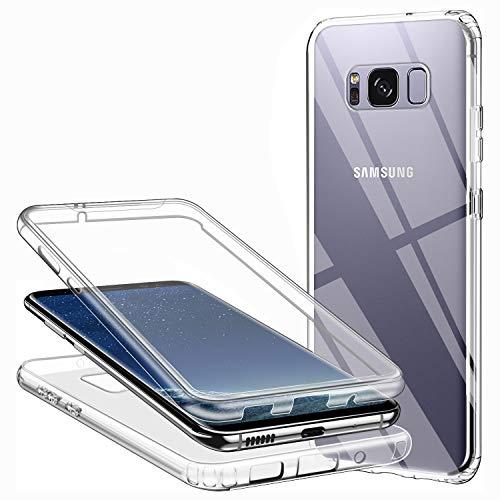 Funda para Samsung Galaxy S8, Silicona Transparente 360 Grados Delantera Trasera Carcasa Ultra-Delgado Resistente Anti-Arañazos Anti-Choques Doble Cara Protectora