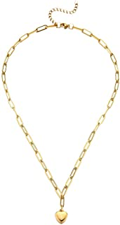 DORAFO Gold Chain Link Necklace Bracelet Sets, No Tarnish Rust Free Gold Plated Stainless Steel Women Heart/Rectangle/Togg...