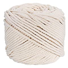 3mm diameter natural cotton cord,100 meters, about 109 yd. This cord is made from natural cotton yarns, it's 100% biodegradable and free of chemical dyes (not dyed) Great for making different kind of Macrame crafts, like wall hangings, dream catchers...