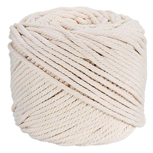 Ialwiyo Macrame Cord 3mm 109Yards 100% Cotton, No Industrial Treatment(Not Dyed), Natural Color Handmade Soft 4 ply Cotton Cord Rope for Macrame, Wall Hanging, Plant Hanger, DIY Craft Making, Knitting