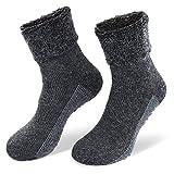 NewwerX 2 Paar Alpaka-Wollsocken mit ABS-Antirutschsohle - Die sanfte Entspannung für die Füße - so warm und weich, Home-Socken aus feinster Wolle (Anthrazit, 35/38)