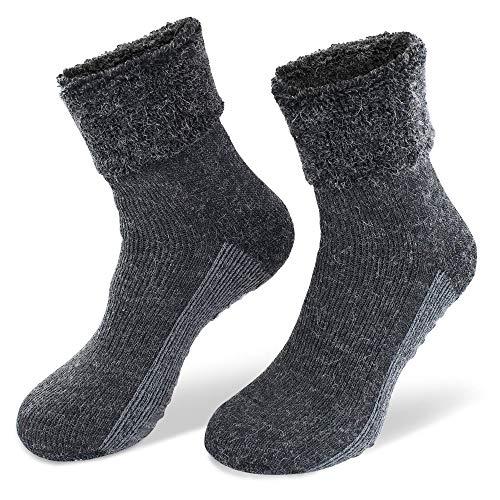 NewwerX 2 Paar Alpaka-Wollsocken mit ABS-Antirutschsohle - Die sanfte Entspannung für die Füße - so warm und weich, Home-Socken aus feinster Wolle (Anthrazit, 43/46)