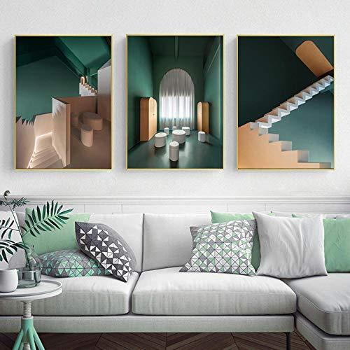 N / A Moderno Verde 3D Edificio Lienzo Pintura Cartel nórdico impresión Sala de Estar Dormitorio Oficina Imagen Pared Arte decoración decoración del hogar sin Marco-A_40X50cmX3
