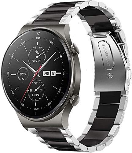 SkyBand Metalica Acero Moda Correas Compatible para Reloj Inteligente Huawei Watch GT 2 Pro (Negro & Plata)