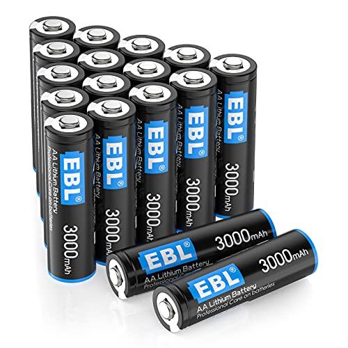 EBL - Lote de 16 pilas de litio AA (3000 mAh, 1,5 V, alto rendimiento, para cámaras de fotos digitales, mando a distancia,...