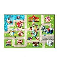 """子供用ラグプレイマットおもちゃ、ベッドルームや子供部屋用の道路付きプレイラグ、3Dデザインカーラグで何時間も楽しめます、エリアラグマット、滑り止め裏地付き、車やおもちゃで遊ぶのに最適なカーマット - 遊びと学習 39"""" x 59"""" 3D-CARMAT-1015"""