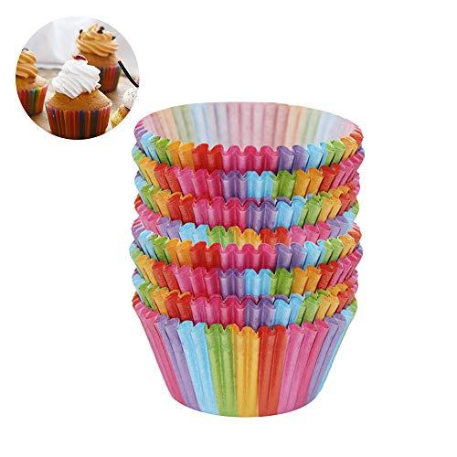 SteelFever NEU 200 Stück Rainbow Cupcake Fällen Kuchen Backen Muffin Dessert Hochzeit Party DE