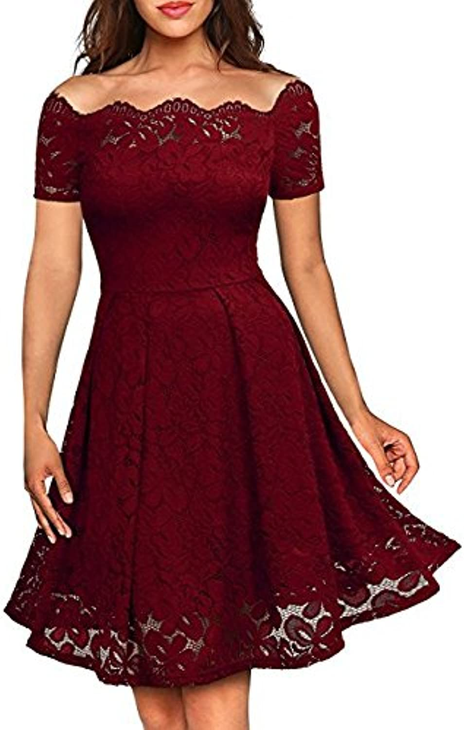 XIURONG A Lace Dress with A Word Collar
