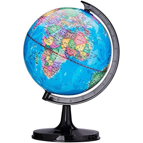 NLLeZ 1 stück Desktop Globus Rotierende Schwenkelle Weltkarte Unterricht HD PVC Earth Atlas Geographie Globus Kinder Spielzeug Pädagogische Verzierung 14,2 cm / 10,6 cm (Farbe : 14.2Cm)