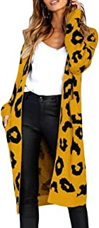 Womens Long Sleeve Leopard Cardigan Open Front Knitted Sweater Coat