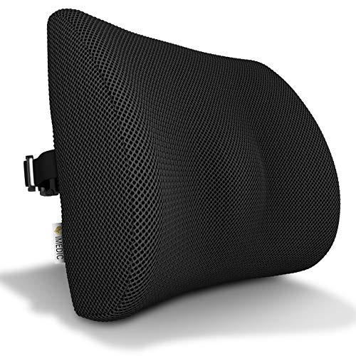 Medipaq - '3D' Mesh Orthopaedic Memory Foam Lumbar Support Cushion - with Air Circulation - Reduce Back Ache, Improve Posture [2018 Updated Version - Now with Adjustable Elastic Strap]