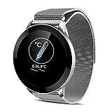 Wsaman Fitness Tracker Smartwatch Reloj Rastreador Deporte, Color Screen Impermeable Podómetro Pulsera Inteligente, con Monitoreo del Sueño para Android/iOS/Hombre/Mujer,Plata