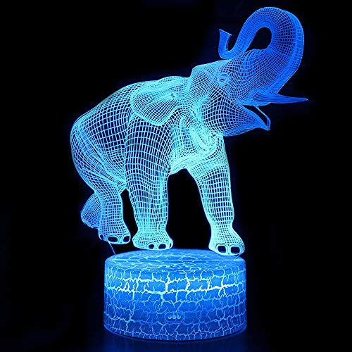Elephant 3D Optical Illusion Lamp, 3D Night Light for Kids, Elephant Gift Birthday Gift, Elephant Toys, 6 5 4 Year Old Girl Gifts, 7 6 5 Years Boys Birthday Present