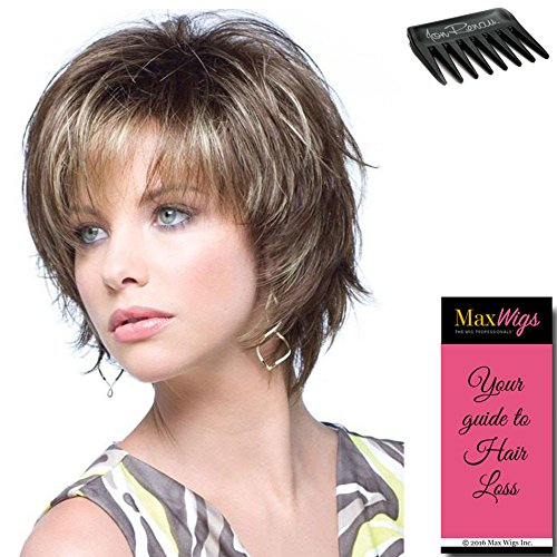 Sky Avg Cap Wig Color Chocolate Swirl - Noriko Wigs Short 5' Razored Bob Feathered Layers Wispy Ends Synthetic Open Weft Bundle w/Comb, MaxWigs Hairloss Booklet