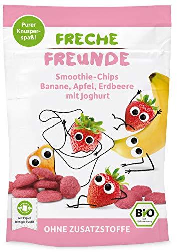 FRECHE FREUNDE Bio Smoothie-Chips Banane, Apfel, Erdbeere mit Joghurt, gefriergetrocknete Obst Chips, ohne Zuckerzusatz, glutenfrei, 12er Pack (12 x 16g)