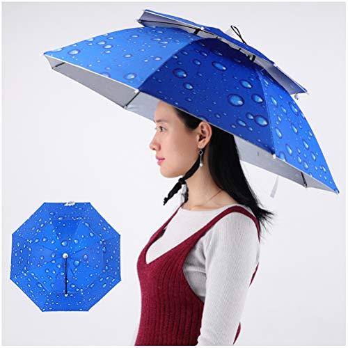 YUI Doppel-Schicht-Fischerei Regenschirm Hut, weiche Kleber Kopf montiert Regenschirm, Sonnenschutz und Regenschutz Regenschirm Hut Outdoor Shade Angeln Hut
