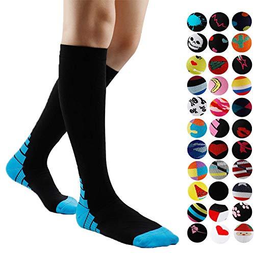 Meias de compressão graduadas Gnpolo femininas 15-20 20-30 mmHg meias de corrida atléticas para enfermeiros, A Colored 16, Small / Medium