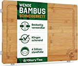 EXTRA LARGE Bamboo Cutting Board for Kitchen with Silicone Feet - Wide Groove on one side reversible with 2 Compartments for different foods - (16' x 12' x 0.8')