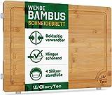 Glorytec Schneidebrett aus 100% Bambus - Antiseptisches Holz-Brett mit Saftrille - Beidseitig verwendbar mit Silikon-Standfüßen - 40x30x2cm - klingenschonend und extrem langlebig