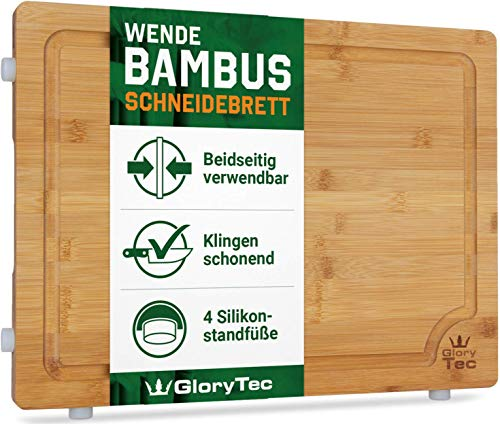 "EXTRA LARGE Bamboo Cutting Board for Kitchen with Silicone Feet - Wide Groove on one side reversible with 2 Compartments for different foods - (16"" x 12"" x 0.8"")"