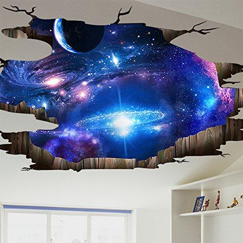 JAYSK 3D dreidimensionale Wandaufkleber Wandbehänge kreative Universum Himmel Decke Tapetenaufkleber 113 * 58cm