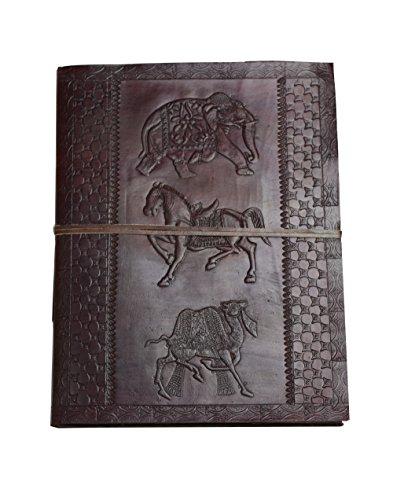Die goldene Zeit - Fotoalbum XXL Lederbuch Büffelleder schwarzes Baumwollpapier Handarbeit