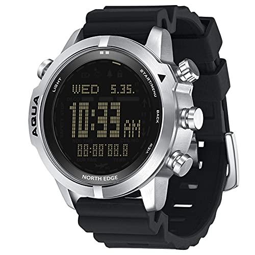 Aibabely Reloj de pulsera de acero para hombre, reloj analógico digital, reloj de buceo, reloj de pulsera de negocios, altímetro, brújula, 200 m resistente al agua