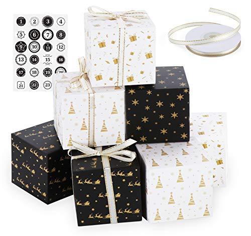 ilauke 24 Adventskalender Geschenkbox - Adventskalender Boxen - Papierdrachen DIY Adventskalender Kisten Set mit Zahlenaufklebern und 22m Satinband- Adventskalender Selber Befüllen 2020