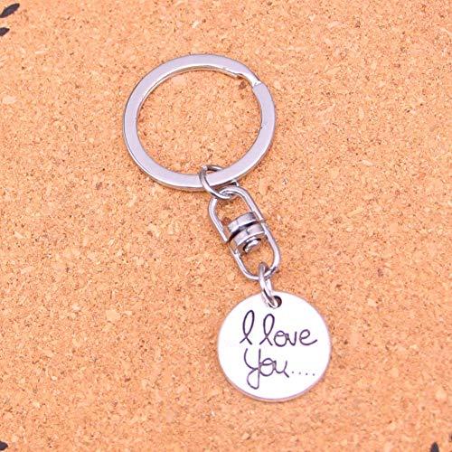 TAOZIAA Modeschmuck Accessoires Silber Anhänger Kreis Platten Ich Liebe Dich Schlüsselbund Schlüsselanhänger für Frauen Männer Geschenke Schlüsselanhänger