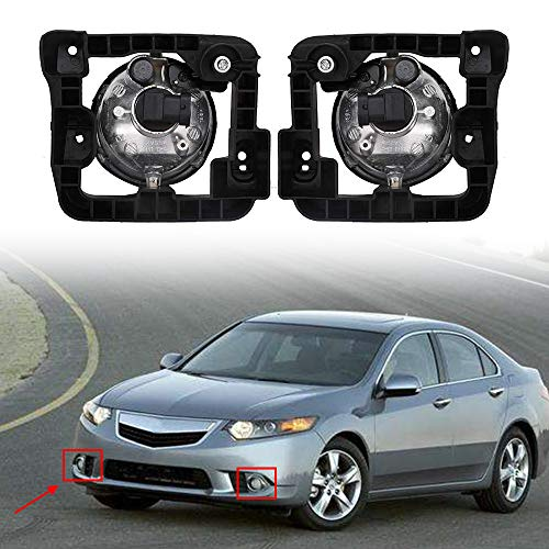Fog Light Lamp Assembly for 2009 2010 Acura TSX Left Right Driver Passenger Side LED Front Fog Driving Lamp Clear Lens w/Bulbs Replace 33900TL0A01, 33950TL0A01, 04390-TL0-306, 04395-TL0-306, AC2593109