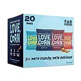 LOVE CORN: Variety Pack 5 x Sea Salt, 5 x BBQ, 5 x Habanero, 5 x Salt & Vinegar   Crunchy Corn - Plant Based & Vegan - Sugar-Free - Gluten-Free - Healthy Snack - Low Calorie - Non GMO
